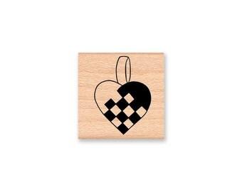 JULGRANSKORG HEART~Rubber Stamp~Swedish~Norwegian~Scandinavian~Christmas Crafts~ wood mounted rubber stamp by Mountainside Crafts (01-06)