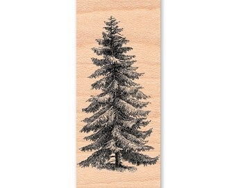 NORWAY PINE Rubber Stamp~Wood Mounted or Cling Option~Christmas Pine~Rustic Decor~Home Crafting~(11-11 Wood)(56-08 Cling)