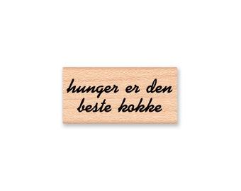 Swedish Kitchen Rubber Stamp~hunger is the best cook~hunger er den beste kooke~Recipe card Stamp~Scandinavian~Wood Mounted Stamp (10-04)