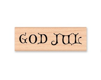 GOD JUL (Merry Christmas) - Wood Mounted Rubber Stamp (mcrs 10-08)