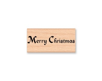 MERRY CHRISTMAS - Wood Mounted Rubber Stamp (mcrs 12-11)