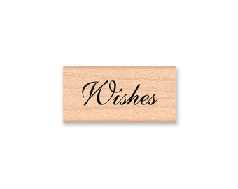 Wishes Rubber Stamp Elegant Script Font Words Wedding Wishing Tree Wedding Card or Tags Wish Tree Best Wishes wood mounted (13-53)