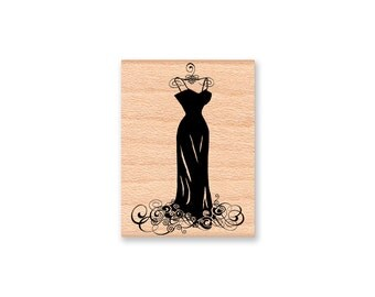 Wedding dress stamp etsy for Wedding dress rubber stamp