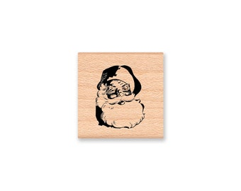 SANTA CLAUS Rubber Stamp~Jolly Old Saint Nick~Vintage Christmas~Santa Face~DIY Holiday Card and Tag Crafting~Wood Mounted Stamp (16-15)