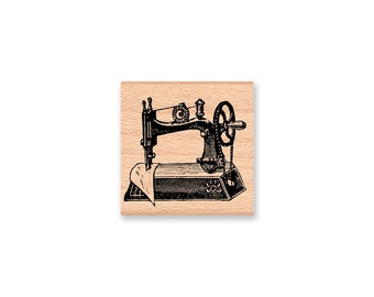 Vintage Sewing Machine Rubber Stamp~stitched with love~handmade~homemade~sewn with love~