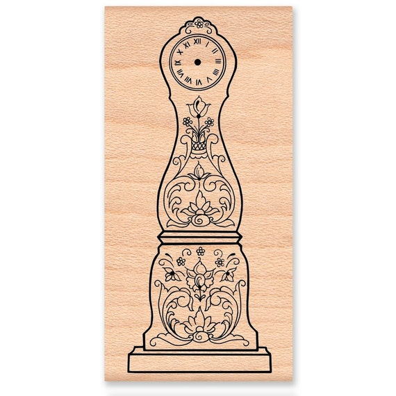 FATHER TIME CLOCK - wood mounted rubber stamp (mcrs 02-11)