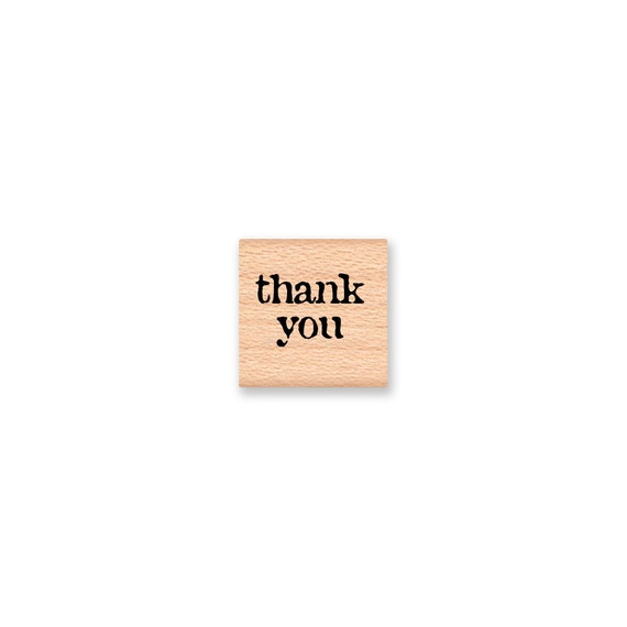thank you - Vintage font -  wood mounted rubber stamp