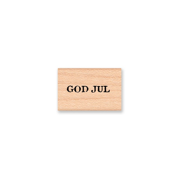 GOD JUL  -Scandinavian Merry Christmas-small stamp-Vintage Font -  Wood Mounted Rubber Stamp(14-59)
