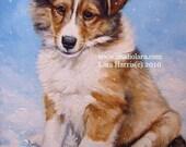 8x10 Winter Sheltie Puppy Fine Art Giclee Print by LARA