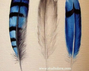 CUSTOM Build Your Own Feather Painting in OIL by LARA 16x20