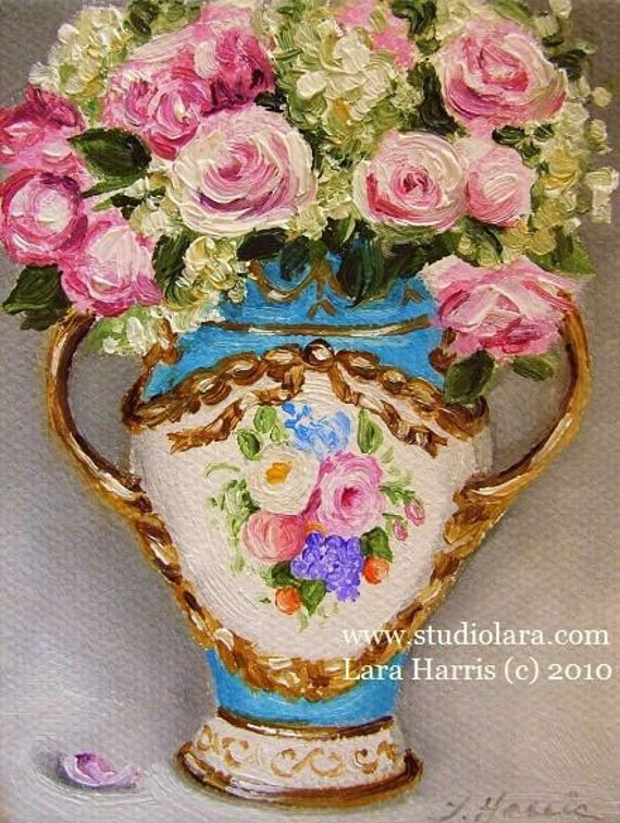 Custom Pink Roses and Hydrangea in Antique French Sevres Vase 8x10 Floral