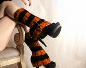 HOLIDAY SALE - Halloween Leg warmers  Orange and Black Striped Faux Boot w/ Spat Style Buttons