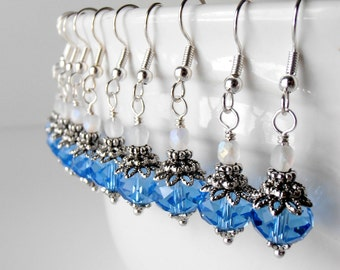 Blue Wedding Jewelry, Sapphire Crystal Bridesmaid Earrings in Antiqued Silver