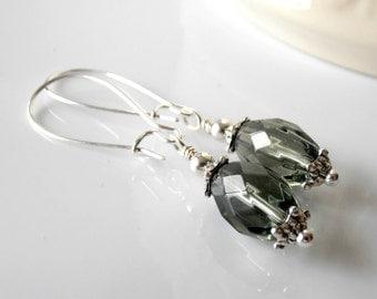 Dark Gray Bead Earrings, Faceted Glass Dangles, Charcoal Bridesmaid Jewelry, Grey Wedding Jewellery