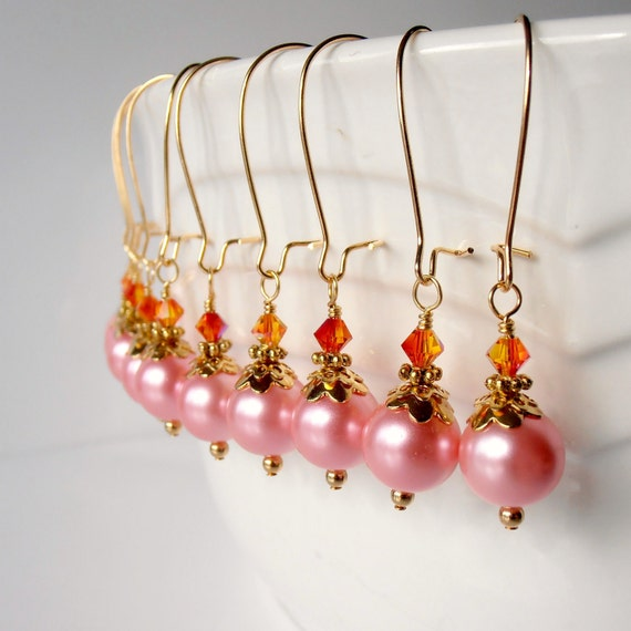 Pink Pearl Dangles with Orange, Bridesmaid Earrings, Gold Plated - DISCONTINUED ITEM CLEARANCE - Quantities as Posted - No Changes - 7 Left