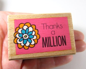 Thanks a Million - Rubber Stamp - Etsy Shop, Logo, Branding, Packaging, Invitations, Party, Favors, Wedding Gifts