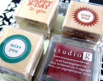 SALE was 4.50 - Happy B-Day to You, Love You, Miss You - Set of 3 Stamps with Ink Pad - Rubber Stamp - Invitations, Party, Favors, Gifts