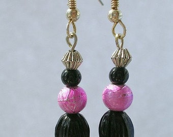 Pink and Black Tulip Dangle Earrings