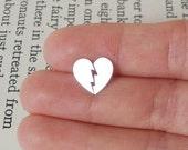 Broken Heart earring studs in sterling silver, heart shape earring studs handmade in UK