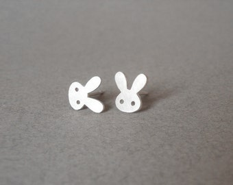 Bunny Rabbit Earring Studs With Straight Ears In Sterling Silver, Handmade In England
