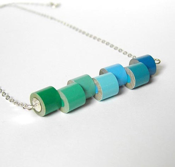 color pencil necklace, color collection - winter No. 1, the green and blue series with sterling silver, made to order