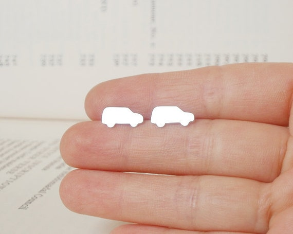 small van earring stud in sterling silver, vehiche earring studs handmade in UK