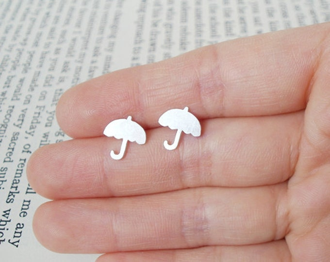 Umbrella Earring Studs In Sterling Silver, British Umbrella Earring Studs, English Weather Jewelry, Handmade In England