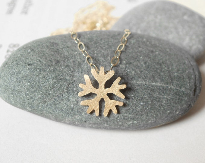 Snowflake Necklace In 9k Yellow Gold, Weather Forecast Necklace Handmade In The UK