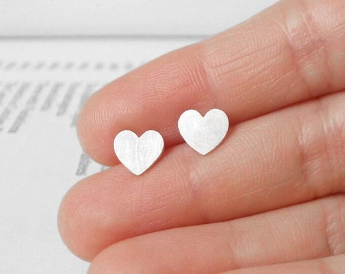 Sweet Heart Earring Studs In Sterling Silver, Heart Shape Earring Studs Handmade In UK