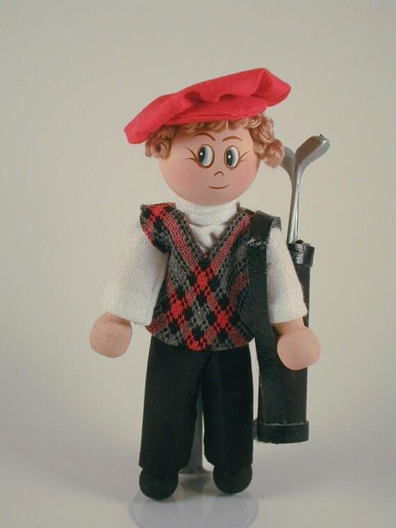 Golfer Clothespin Doll/Ornament