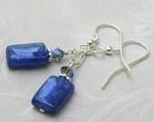 Blue Kyanite Earrings, Sterling Silver, Denim Blue Stone, Rectangle Gemstone Dangle Earrings, Winter Holiday Gift