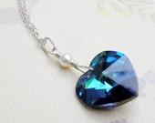 Marine Blue Heart Necklace, Swarovski Crystal Heart Pendant DeepTeal Blue, Sterling Silver, Horizon Blue Bridesmaid Gift, Wedding Jewelry