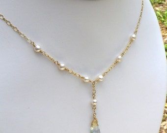 Natural Aquamarine Necklace, Gold Filled, Freshwater Pearls, Stone Pendant, Wedding Necklace, Birthday Gift, March Birthstone Jewelry