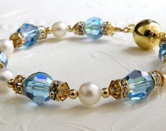 Aquamarine Crystal Bracelet, Blue Topaz Swarovski, Gold Filled, White Pearl, Teal Wedding Jewelry Something Blue, March Birthstone, Handmade