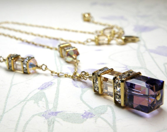 Purple and Champagne Necklace, Tanzanite Crystal Citrine Swarovski Cube, Gold Filled, Wedding, Mother of the Bride, Handmade Jewelry
