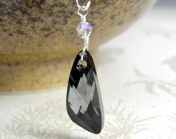 Black Crystal Necklace, Modern Pendant, Swarovski Crystal, Black Triangle Crystal, Sterling Silver, Unique Shape Wedding Jewelry, Handmade
