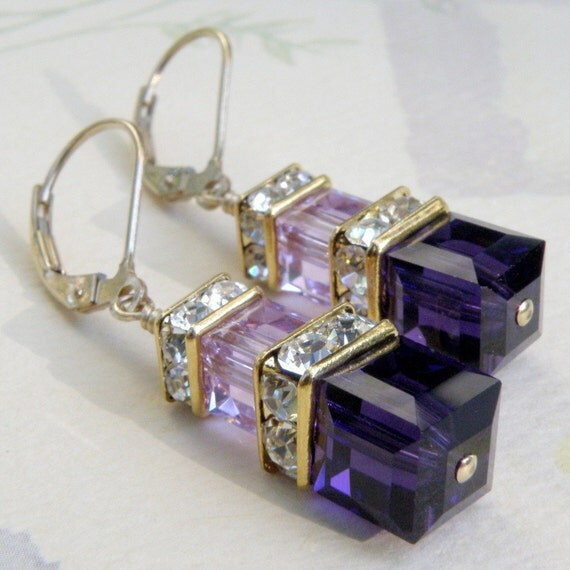 Deep Dark Purple Cube Earrings, Violet Swarovski Crystal, Gold Filled, Modern Bridesmaid Earrings, Spring Wedding Jewelry, Bridal Party Gift