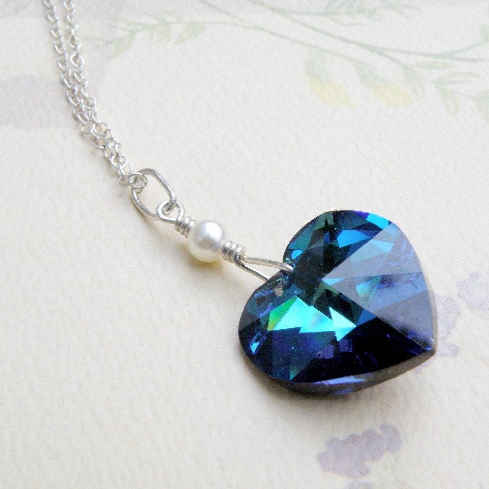 teal blue heart necklace marine swarovski crystal heart. Black Bedroom Furniture Sets. Home Design Ideas