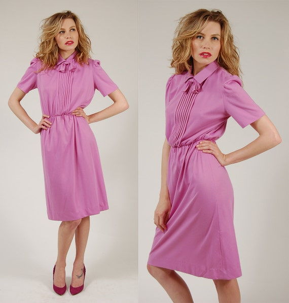 Vintage 70s SECRETARY Dress Orchid PURPLE Retro Midi S/M