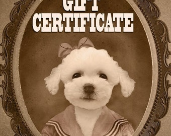 GIFT CERTIFICATE for one Custom Vintage Pet Portrait - You Print, Fast Gift, Last Minute Gift, Pet Lover Gift, Funny Gift, Christmas Gift