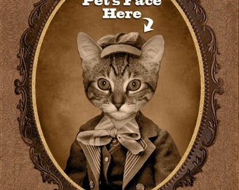 Custom Vintage Image of Your Pet, Custom Pet Portrait, Gift for Pet Lover, Perfect Gift Dog Lover/Cat Lover, Funny Gift, Christmas Gift