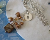 Initial Charm Bronze Brown Yellow Sterling Silver Necklace