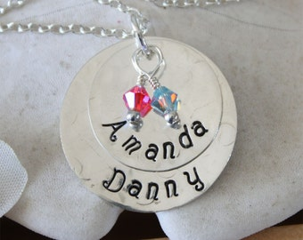 Two Children names, Mommy Necklace, Blessings Personalized Birthstone Sterling Silver Necklace