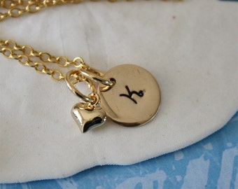 Small Gold Initial Charm Necklace, Gold Charm, Initial Jewelry, puffy heart
