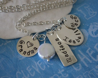 Grandma Necklace Personalized, 3 Children, 4 kids, Mom Necklace, Sterling Silver Charm Necklace