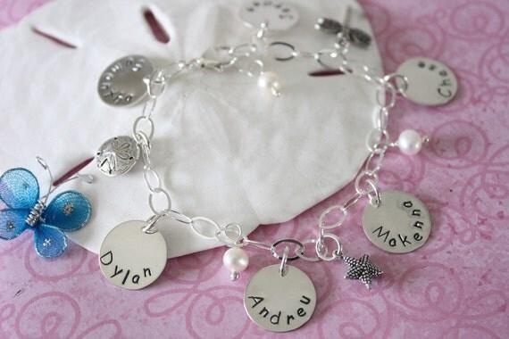 6 Names Mother Bracelet, Personalized Bracelet, Grandma Bracelet, 6 Name Tags, Sterling Silver, Monogram Bracelet