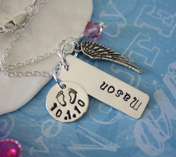 Mommy Personalized Necklace, Little Angel Charm Sterling SIlver, Angel Wings, Mothers Day Gift