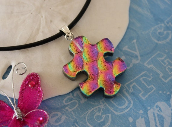 Puzzle Piece Necklace Dichoric Glass Sterling Silver