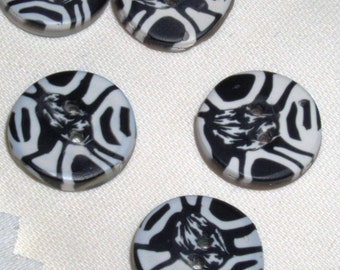Crazy Black and White Buttons