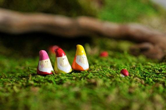 Three Tiny Gnome/Terrarium Accessory/Garden/Decoration
